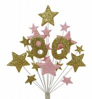Number age 80th birthday cake topper decoration in gold and pale pink - free postage